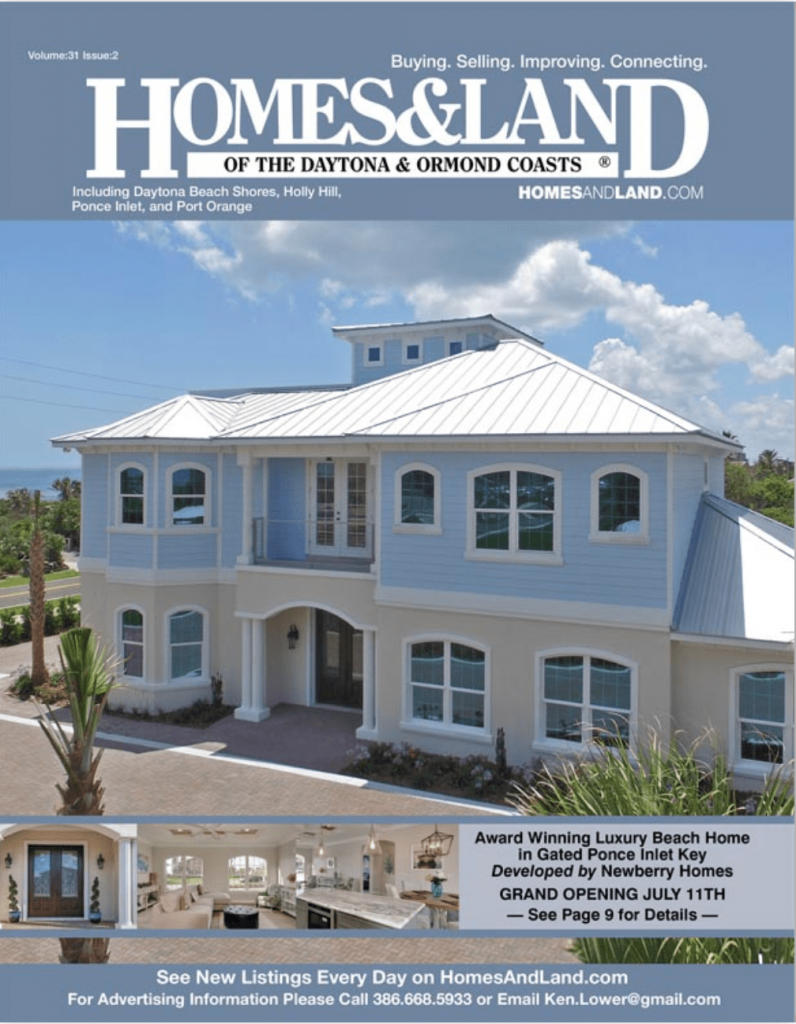 Homes and Land magazine cover featuring Ponce Inlet Key